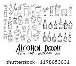 set of vector alcohol doodle... | Shutterstock .eps vector #1198653631