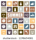summer icons set | Shutterstock .eps vector #1198654081
