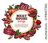 meat house sketch menu  premium ... | Shutterstock .eps vector #1198657381