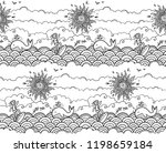 doodle style hand drawn surfing ... | Shutterstock . vector #1198659184