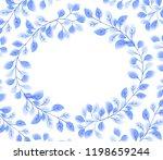 blue elegant leaves round frame ... | Shutterstock . vector #1198659244