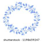 blue elegant leaves wreath... | Shutterstock . vector #1198659247