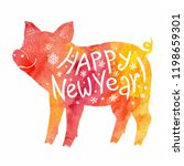 red and yellow watercolor pig... | Shutterstock . vector #1198659301