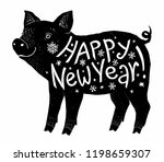 black pig silhouette with white ... | Shutterstock . vector #1198659307