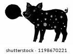 black pig ink grunge silhouette ... | Shutterstock . vector #1198670221