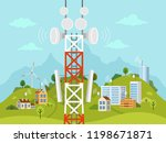 cellular transmission tower in... | Shutterstock .eps vector #1198671871