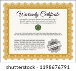 orange retro vintage warranty... | Shutterstock .eps vector #1198676791