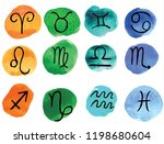 zodiac signs icons  horoscope... | Shutterstock .eps vector #1198680604