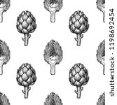 seamless pattern with artichoke.... | Shutterstock .eps vector #1198692454