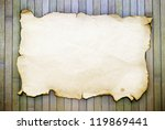 old paper old burnt on bamboo boards - stock photo