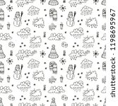seamless pattern with cute hand ... | Shutterstock .eps vector #1198695967