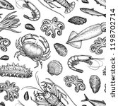 seamless pattern with seafood... | Shutterstock .eps vector #1198702714