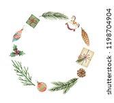 watercolor christmas wreath... | Shutterstock . vector #1198704904