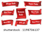 sale ribbons. red ribbons price ... | Shutterstock .eps vector #1198706137