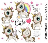 set of cute cartoon unicorns... | Shutterstock .eps vector #1198725577