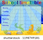 school timetable with marine... | Shutterstock .eps vector #1198749181