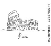 rome continuous line drawing | Shutterstock .eps vector #1198750144