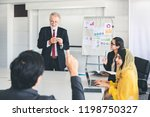business man hand up for asking ... | Shutterstock . vector #1198750327