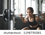 fitness asian woman doing... | Shutterstock . vector #1198750381
