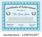light blue certificate or... | Shutterstock .eps vector #1198761697