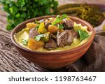 fried chicken liver with apples ... | Shutterstock . vector #1198763467
