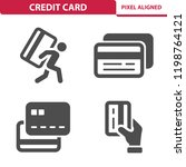 credit card icons. professional ... | Shutterstock .eps vector #1198764121