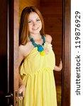 young beautiful woman opening... | Shutterstock . vector #119876929