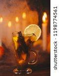 a festive rum punch in smoke on ... | Shutterstock . vector #1198774561