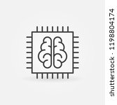 chip with brain vector icon or... | Shutterstock .eps vector #1198804174