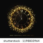 new year shiny gold watch  five ... | Shutterstock .eps vector #1198833964