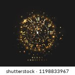 new year shiny gold clock  five ... | Shutterstock .eps vector #1198833967