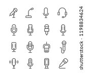 microphone vector icon set