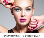 beautiful woman face with blue... | Shutterstock . vector #1198841614