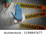 Health worker gesturing stop sign in quarantine.  - stock photo