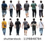 asia people walking isolated. | Shutterstock . vector #1198848784