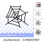 spider web thin line icon.... | Shutterstock .eps vector #1198855987