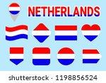 netherlands flag set.... | Shutterstock . vector #1198856524
