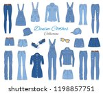 denim clothes collection.... | Shutterstock .eps vector #1198857751