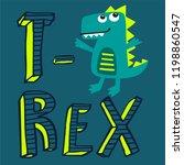 funny cartoon t rex dinosaur... | Shutterstock .eps vector #1198860547