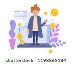 concept of bitcoin online... | Shutterstock .eps vector #1198863184