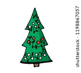 doodle color christmas tree... | Shutterstock .eps vector #1198867057