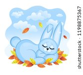 cute sleeping bunny on blue... | Shutterstock .eps vector #1198875367