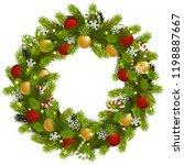 vector christmas fir wreath... | Shutterstock .eps vector #1198887667