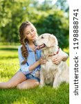 young woman with golden... | Shutterstock . vector #1198888741
