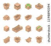 set of different cardboard... | Shutterstock . vector #1198890394