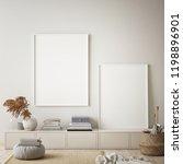 mock up poster frame in modern... | Shutterstock . vector #1198896901
