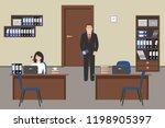 office room in a beige color.... | Shutterstock . vector #1198905397