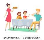 family is having dinner ... | Shutterstock .eps vector #1198910554