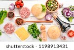 preparation of burger. meat ... | Shutterstock . vector #1198913431