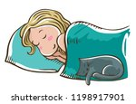 sleeping blonde girl on a... | Shutterstock .eps vector #1198917901